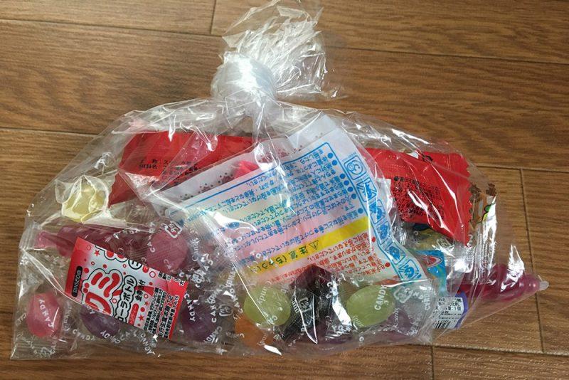 1人に1袋、駄菓子のお土産をもらいました。
