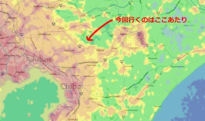 光害マップの印旛沼付近