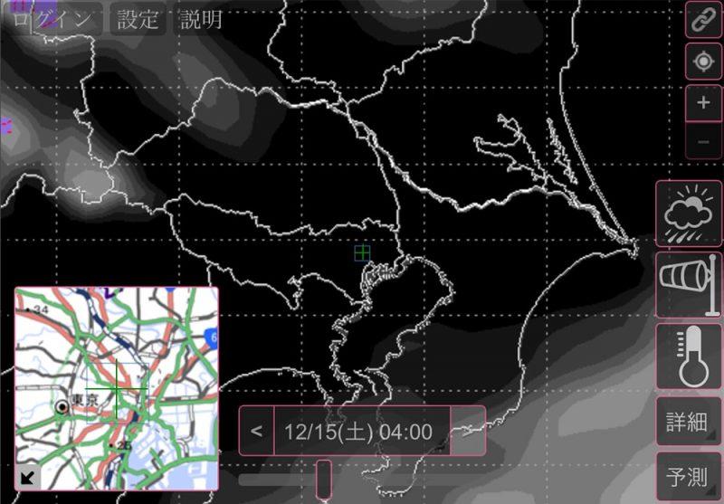 翌15日の4時の雲予想