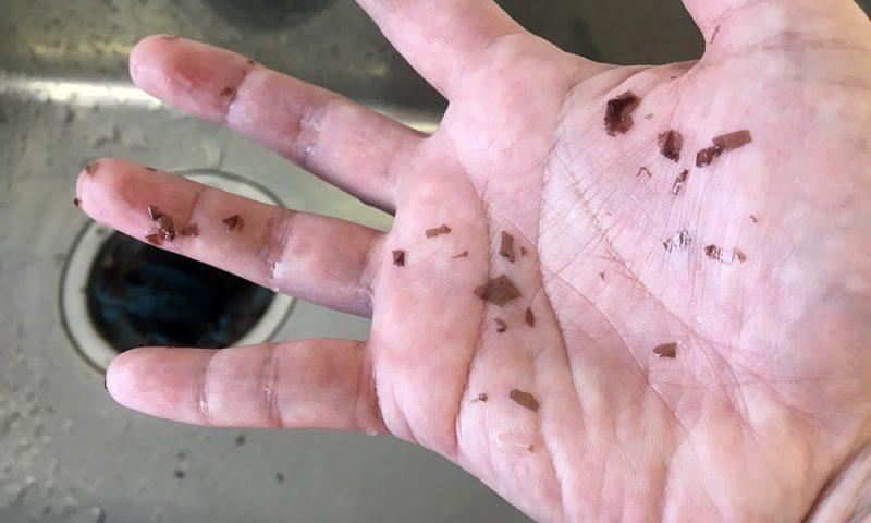手についた生海苔