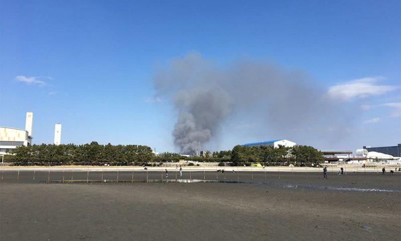船橋三番瀬の干潟。火事に遭遇